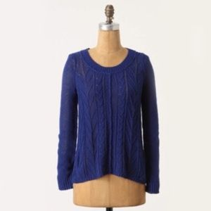 Anthropologie Sparrow Blue Howth Knit Sweater L